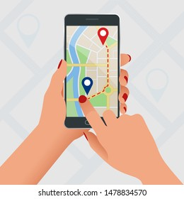 Flat GPS navigation in the phone with a red and blue pointers. GPS tracking map. Track navigation pins on street maps, navigate mapping technology and locate position pin.