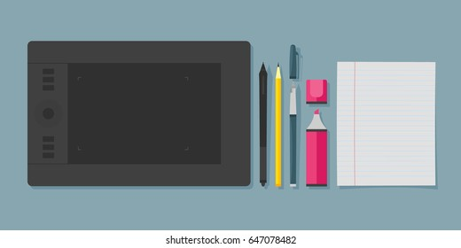 Flat graphic designer toolset, graphic tablet