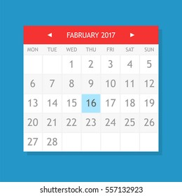 Flat graphics of single page from calendar. February 2017.