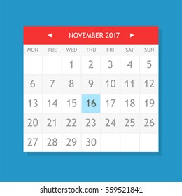 Flat graphics of single page from calendar. November 2017.