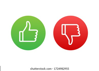 Flat green button on red background. Ok sign. Trumb up, great design for any purposes. Social media concept. Vector stock illustration.