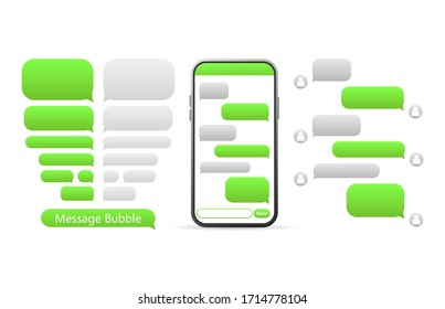 Flat green button on white background. Talk bubble speech icon. Template chat, message. Template design. Flat vector illustration. Phone icon vector.