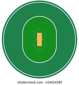 Flat green cricket ground. Top view of field with line template. Vector stadium card. Proportion outline illustration.