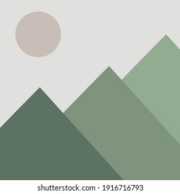 Flat green mountains with moon. Abstract nature illustration.