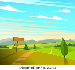 Flat green natural landscape with blue sky wood road arrow. Vector illustration.