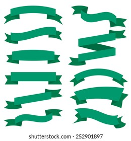 Flat Green Ribbons Set isolated On White Background. Vector Illustration