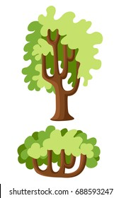 Flat green trees vector illustration set. Stone pine, spruce, maple, birch, cedar, oak, brachychiton, banyan, willow, larch palm scots pine forest tree icons Nature concept