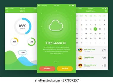 Flat Green Ui (3 screen) - Walkthrough, Graph, Calendar