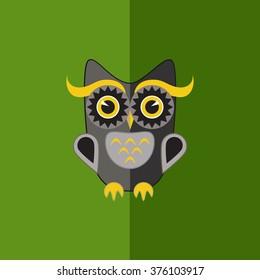 Flat grey owl.