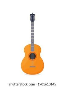 Flat Guitar. Vector Illustration. Musical Instrument Flat