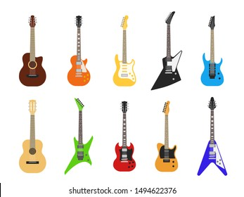 Flat guitars. Acoustic and electric guitar musical instruments for entertainment. Vector isolated electrica vintage design guitare set