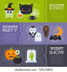 Flat Halloween banners with creepy elements and characters for card templates, print and web design