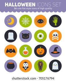 Flat Halloween icons with creepy symbols for infographics, cards, kids and web design