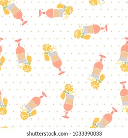 Flat hand drawing seamless pattern - Pina Colada cocktail
