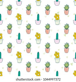 Flat hand drawing seamless pattern - Cute color cactus