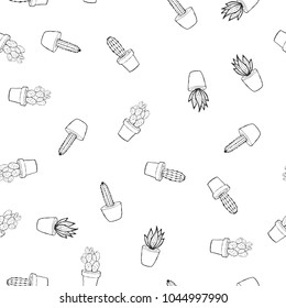 Flat hand drawing seamless pattern - Cute cactus