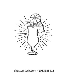 Flat hand drawing vector illustration - Pina Colada cocktail