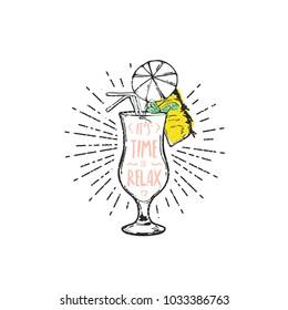 Flat hand drawing vector illustration - Pina Colada cocktail