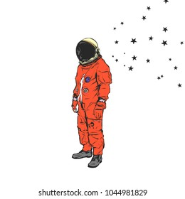 Flat hand drawing vector illustration - Astronaut and stars