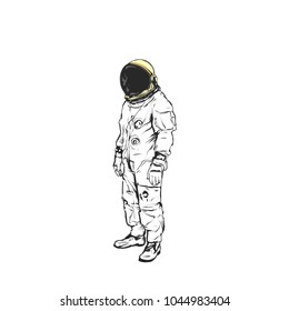 Flat hand drawing vector illustration - Astronaut