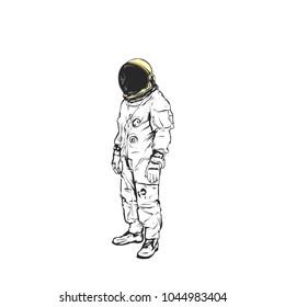 Flat hand drawing vector illustration - Astronaut