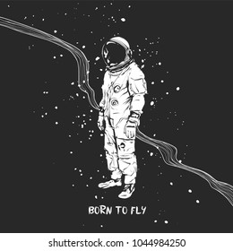 Flat hand drawing vector illustration - Astronaut in space