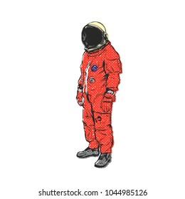 Flat hand drawing vector illustration - Astronaut linocut technique