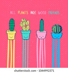 Flat hand drawing vector illustration - Cute cartoon cactus set