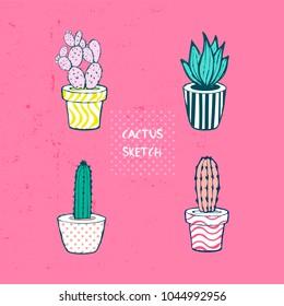 Flat hand drawing vector illustration - Cute cactus set