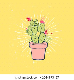 Flat hand drawing vector illustration - Cute color cactus