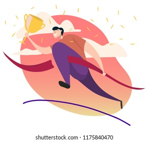 flat hand drawn vector illustration. happy man holding gold award cup and running , winning concept