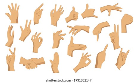 Flat hand gestures. Male flat hands in different positions on a white background. Pointing hands, gesturing communication language, palm gesture designation.  Vector illustration.