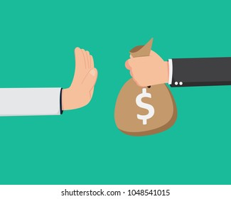 Flat Hand Give The Money But Say No. No Corruption