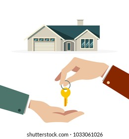 Flat hand holding house key background. Vector illustration flat design.