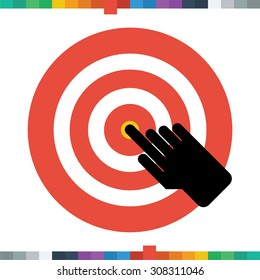 Flat hand icon clicking on target.