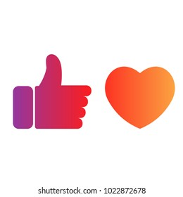 Flat hand like social network icon with red heart. Instagram like, heart