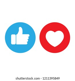 Flat hand like social network icon with red heart. Vector social media Illustration. Facebook, facebook icon