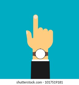 A flat hand. Pointing. Business hand with a clock