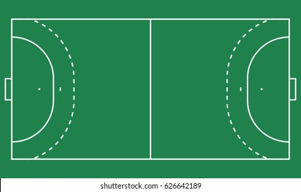 Flat  handball field, green grass with line template. Vector stadium card. Proportion outline illustration.