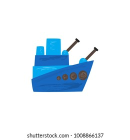 Flat hand-drawn cartoon warship, battleship, armored naval vehicle icon, vector illustration isolated on white background. Flat cartoon vector icon of blue toy warship, battleship