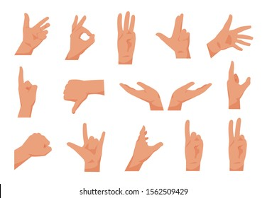 Flat hands. Cartoon human male hands showing thumbs up, pointing and greeting. Vector isolated collection of arms gestures, drawing in various poses, for presentation on white background