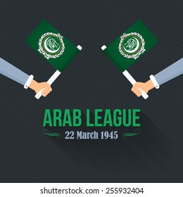 "Flat Hands hold Arab League Flag, Arabic Typographic Text English Translation ""League of Arab States"""