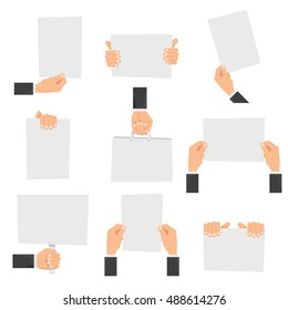 Flat hands holding empty signs or hands with blank paper. Vector illustration