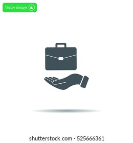 flat hands showing portfolio case icon
