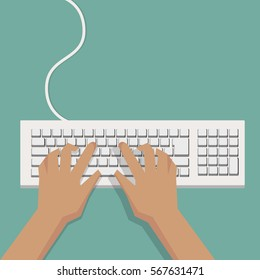 Flat Hands typing on white keyboard with cable and pastel background