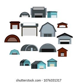 Flat hangar icons set. Universal hangar icons to use for web and mobile UI, set of basic hangar elements isolated vector illustration
