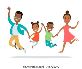 Flat happy black Family with children vector characters illustration. Mother father with baby son and daughter jumping and hold hands. Woman, man, girl, boy. African american parenting concept.