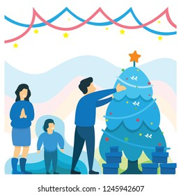 flat happy family christmas tree and gift boxes vector illustration winter holidays new year celebrations