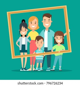 Flat Happy Family portrait picture vector illustration. Children and parents. Parenting: mother, father, kids, son, daughter. Creative people collection