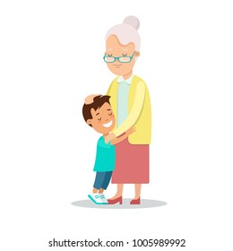 Flat Happy Family portrait vector character illustration. Grandmother and grandson hug. Children, parents, grandparents love concept